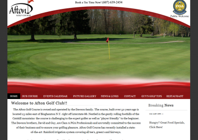 AftonGolf.com site re-design